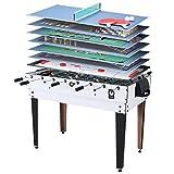 Miweba Multigame Spieletisch 15 in 1 Tischfußball Kicker Billard Hockey Spieltisch Multifunktionstisch (Korpus Weiß)