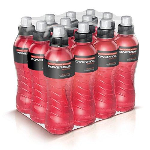 Powerade Sports Wild Cherry - Iso Drink mit Elektrolyten - als erfrischendes, kalorienarmes Sportgetränk oder als Power Drink für zwischendurch/12 x 500 ml Power Drink Kirsche