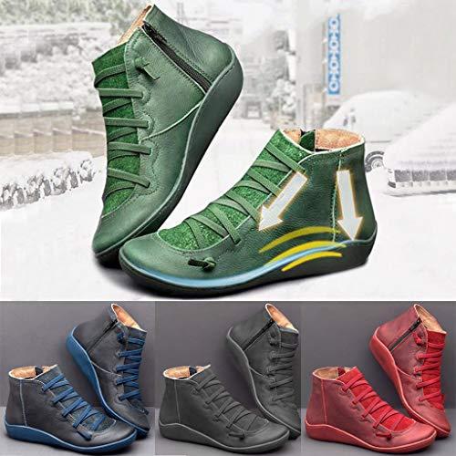 Mode Kurze Stiefel Damen Seitlicher Reißverschluss Runde Kappe Schuhstiefel,Frauen Flache Leder Retro Schnürstiefel Schöne Stiefeletten Booties Winter Damenschuhe