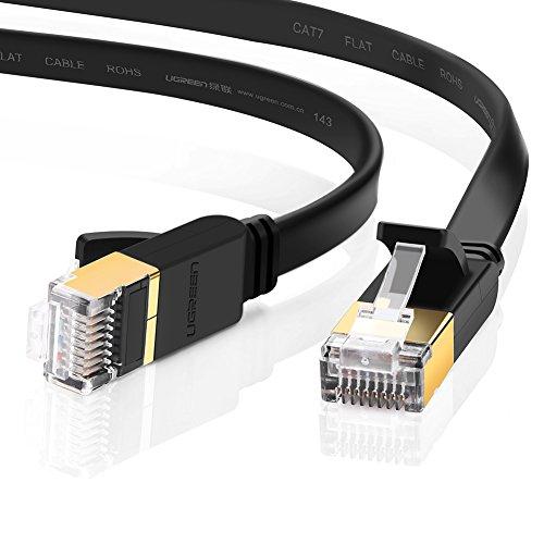UGREEN Ethernet Kabel 5m Cat7 Gigabit Lan Netzwerkkabel RJ45 10Gbps 600Mhz/s STP Molded Verlegekabel für Switch,Router,Modem,Patchpannel,Access Point,Patchfelder Flach Schwarz