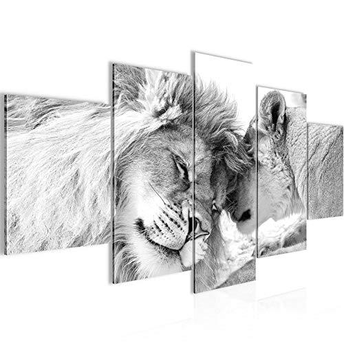 Runa Art Bilder Löwen Liebe Wandbild 200 x 100 cm Vlies - Leinwand Bild XXL Format Wandbilder Wohnzimmer Wohnung Deko Kunstdrucke Grau 5 Teilig - Made in Germany - Fertig Zum Aufhängen 002151c