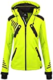 Rock Creek Damen Softshell Jacke Outdoorjacke Windbreaker Übergangs Jacke - Neongelb - 48/3XL