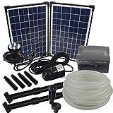Agora-Tec AT-Solar Bachlaufpumpen - Set 20W-BLH mit Akku und 6- fach LED Ring inklusive 9 Meter Bachlaufschlauch und LED Halterung, Hmax.: 1350l/h Förderhöhe: 3,05 m bei Verwendung eines Schlauches