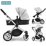 Hot Mom Multi Kinderwagen Kombikinderwagen 2 in 1 mit Buggy 2018 neues Design - Grey