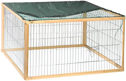 dobar 23117 Rechteckiges Freilaufgehege 'Quadro', Kaninchengehege aus Holz und Metall mit Nylon Netz für draußen wetterfest, 100 x 100 x 58,5 cm