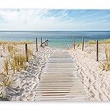 murando - Fototapete 350x256 cm - Vlies Tapete - Moderne Wanddeko - Design Tapete - Wandtapete - Wand Dekoration - Landschaft Natur Meer Strand blau beige c-A-0054-a-b