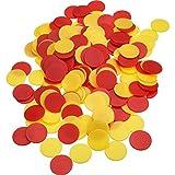 Pangda 200 Stück Farbige Kunststoff Zähler Zählen Chips Bingo Marker mit Aufbewahrungstasche für Mathematik Oder Spiele (Gelb Rot)