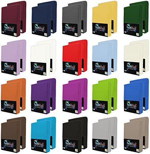 NatureMark 2er Pack JERSEY Spannbettlaken, Spannbetttuch 100% Baumwolle in vielen Größen und Farben MARKENQUALITÄT ÖKOTEX STANDARD 100   90 x 200 cm - 100 x 200 cm - weiß