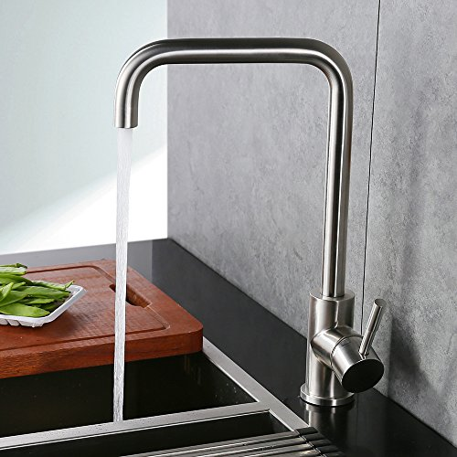 Homelody 360° drehbar Wasserhahn Küche Einhebelmischer Spültisch Armatur Küchenarmatur Spültischarmatur Spülbecken Wasserkran Mischbatterie Spüle für Küchen
