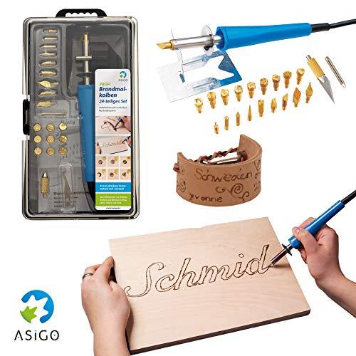 Asigo Brandmalkolben I Brandmalerei auf Holz Leder Kork I Brandmalgerät mit Ständer und 22 Einsätzen I Deutscher Hersteller