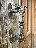 Antikas - Türgriff, ausdrucksstarker Haustürgriff, Griff im Gründerzeit-Stil, Fabel, Eisen