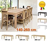 furniture24_eu Esstisch, Esszimmertisch, Küchentisch Ausziehbar 140-260 cm (Sonoma Eiche)