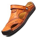 tqgold Flip Flops Herren Sandalen Sommer Leder Strandschuhe Hausschuhe Slipper Clogs Zehentrenner aus Rindsleder(Gelb Braun,Größe 43)