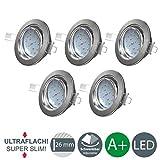 B.K.Licht Ultra Flach LED Einbaustrahler - warmweiß - inkl. 5x 5W Modul 230V 400lumen - Schwenkbar Einbauspots Einbauleuchten - 5er Pack (matt-nickel-Rund)