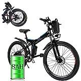 Bunao Elektrofahrräder 36V 12.8A Lithium Batterie Faltrad MTB Mountainbike E-Bike 17 * 26 Zoll Shimano 21 Speed Fahrrad Intelligence Elektrofahrrad (Schwarz2)