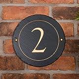 Rustikale Schiefer rund Hausnummer personalisiert mit Ihrer Nummer