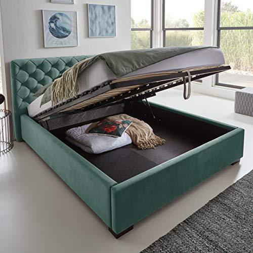 Designer Bett mit Bettkasten ELSA Samt-Stoff Polsterbett Lattenrost Doppelbett Stauraum Holzfuß schwarz (Mint, 180 x 200 cm)