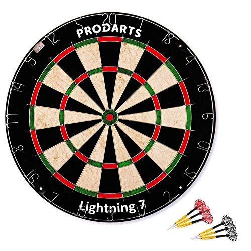 Dartscheibe Lightning 7 - Turniermaße: 451 mm Durchmesser, 38 mm Dicke - A-Klasse Sisal Bristle Round Wire Dartboard - Plus: Darts, Regelheft & Montagesatz kostenlos