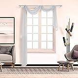 Yooshen Transparente einfarbige Gardine, Schlafzimmer Transparent Vorhang Fenster Freihandbogen Schals Querbehang Deko Gardinen Weiß Taupe, viele attraktive Farbe, 500cm x 90cm (T)
