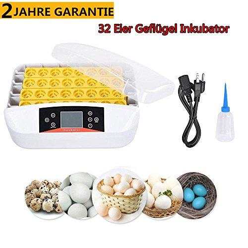 32 Eier Vollautomatische Geflügel Inkubator Brutkasten Brutapparat Brüter Brutmaschine Inkubation Automatischer Eierwender