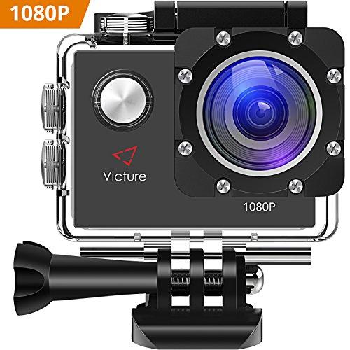 Victure Action Cam 12MP 1080P FHD 30m Unterwasserkamera Sport Action Camera Wasserdichte Helmkamera mit 170 Weitwinkel 1050mAh Akku und kostenlosen Zubehör Kit