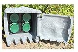 Baumarktplus Außensteckdose Stein 5m Kabel Steckdose 4-Fach Gartensteckdose Steinsteckdose