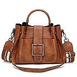 Vintage PU Leder Handtasche Damen Henkeltasche Umhängetasche Schultertasche Crossbody Tasche für Frauen Mädchen - Braun