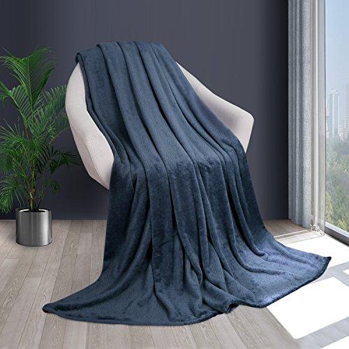 HOMFY Kuscheldecke Wohndecke 180X220cm Dunkelblau Flanell Decke, Flauschige Tagesdecke aus Mikrofaser, superweiche Sofadecke