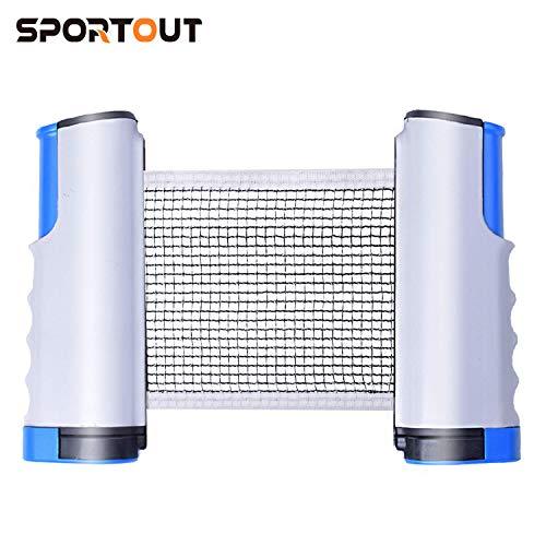 Sportout Tischtennisnetze Tischtennis Netze, Justierbarer Einziehbares Netz Ping Pong Ersatznetz, Beweglicher Reisehalter ideal für alle Arten von tischen- Einstellbare Länge 170(max) x 19cm