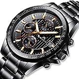 Herren Uhr Männer Militär Chronographen Luxus Schwarz Edelstahl Wasserdicht Armbanduhren Mann Designer Sport Business Dress Datum Mond Phase Analog Uhren