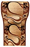 WE LOVE RUGS CARPETO Läufer Teppich Flur - Abstraktes Muster - Dicht Gewebt Teppichläufer - Läufer nach Maß - KIRTAN Kollektion - Braun Beige - 100 x 500 cm