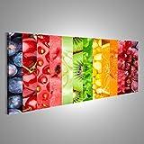 Bild Bilder auf Leinwand XXL Panoramabild Leinwandbild Wandbild Kunstdruck Poster Topseller BBX Früchte Farbenbänder Küchenbild
