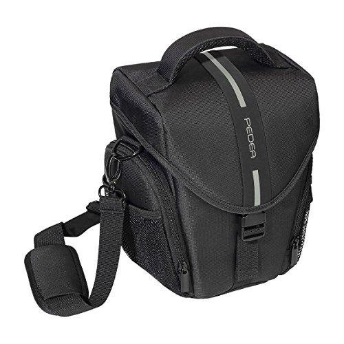 PEDEA 'Essex' SLR-Kameratasche mit Regenschutz, Tragegurt und Zubehörfächer Gr. L, schwarz/grau