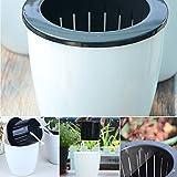 Gezichta selbstwässernder Blumentopf, runde Form, Kunststoff ,weiß, Pflanzgefäß-Topf, für Innen- und Aussenbereich, für Haus/Garten, grün/weiß, xl
