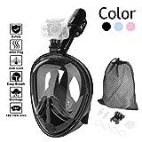 HOVNEE Tauchmaske Schnorchelmaske mit 180° Grad Sicht, Anti-Fog und Anti-Leck, frei Atmen- Design-Schnorchel Maske, unterstützt für Sport Kamera,Schwarz (L)