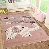Fashion4Home   Kinderteppiche Elefant mit Herzen Ballons   Kinderteppich für Mädchen und Jungs   Teppich für Kinderzimmer   Schadstofffrei Kinderzimmerteppiche geprüft von Öko-Tex