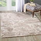 mynes Home Designer Teppich in Beige Modern Liniert und Meliert Berber Look mit Bordüre MY3211 (160x230cm)