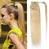 TESS Pferdeschwanz Extensions Echthaar Ponytail Haarteil Clip in Extensions Echthaar Zopf Remy Haarverlängerung günstig 14'(35cm)-80g #613 Blond