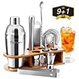 Baban Cocktail Shaker Set, 10tlg Cocktail Set, Bartending Set mit Bambus-Aufbewahrung, Cocktailzubehör 550ml Shaker, Geschenk für Männer und Frauen
