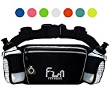 FunH2OBelt (Grau - Groß) Trinkgürtel Hydration Laufende Band mit Wasser Flaschen 175 ml - Hüfttasche für Outdoor und Sport, mit Wasserdichten Tasche für iPhone, iPod, Samsung & alle Smartphones