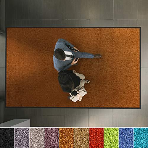 etm Hochwertige Fußmatte | schadstoffgeprüft | bewährte Eingangsmatte in Gewerbe & Haushalt | Schmutzfangmatte mit Top-Reinigungswirkung | Sauberlaufmatte waschbar & rutschfest (90x300 cm, Braun)