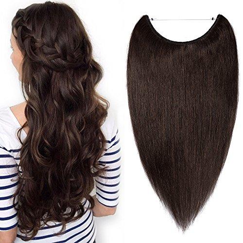 TESS Echthaar Extensions günstig 1 Tresse Remy Haarverlängerung mit Draht Haarverdichtung Glatt 20'(50cm)-70g(#2 Dunkelbraun)