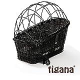 Tigana - Hundefahrradkorb für Gepäckträger aus Weide 60 x 39 cm mit Metallgitter + Kissen Tierkorb Hundekorb für Fahrrad - SCHWARZ (S-S)