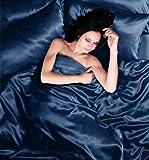 Bettwäsche für Einzelbett, komplettes Set, 4-teilig, Satin, marineblau