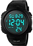 Herren Sport Digitaluhren - Outdoor Wasserdicht Sportuhr mit Wecker/Timer, Big Face Military Digital Armbanduhren mit LED Hintergrundbeleuchtung Uhren für Lauf Herren - Schwarz von VDSOW