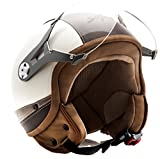 SOXON SP-325-URBAN Creme · Scooter-Helm Retro Bobber Motorrad-Helm Roller-Helm Pilot Vespa-Helm Biker Mofa Vintage Cruiser Chopper Helmet Jet-Helm · ECE zertifiziert · Leder Design · mit Visier · inkl. Stofftragetasche · Beige · XL (61-62cm)