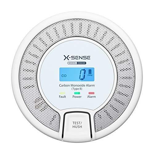 X-Sense Kohlenmonoxid Melder, CO Melder mit Display, 10 Jahre Sensor, Austauschbarer Akku, BSI nach EN50291 Zertifiziert