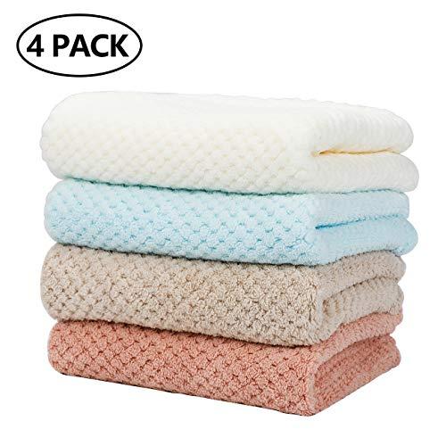 Homealexa 4er Set Handtücher 35x75 cm, Extra Weiche Waschlappen Ultra Saugfähigen Haar Handtuch Weiß, Beige, Rosa, Blau
