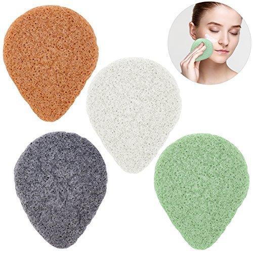 PIXNOR Konjac Sponge 100% Pure Natürliche Konjac Schwamm Gesicht Haut Körper Massage Werkzeuge für Tiefenreinigung Poren 4 stücke
