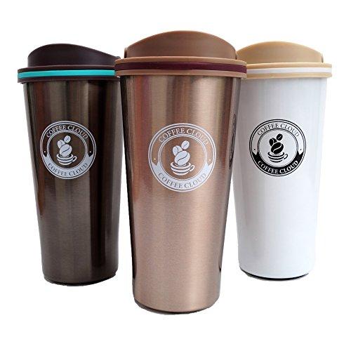 Edelstahl Kaffeebecher von Coffee Cloud | 500ml | Doppelwandig vakuumisolierter Travel Mug | Thermobecher aus Edelstahl | Isolierbecher BPA Frei, Leicht & Auslaufsicher (Bronze)